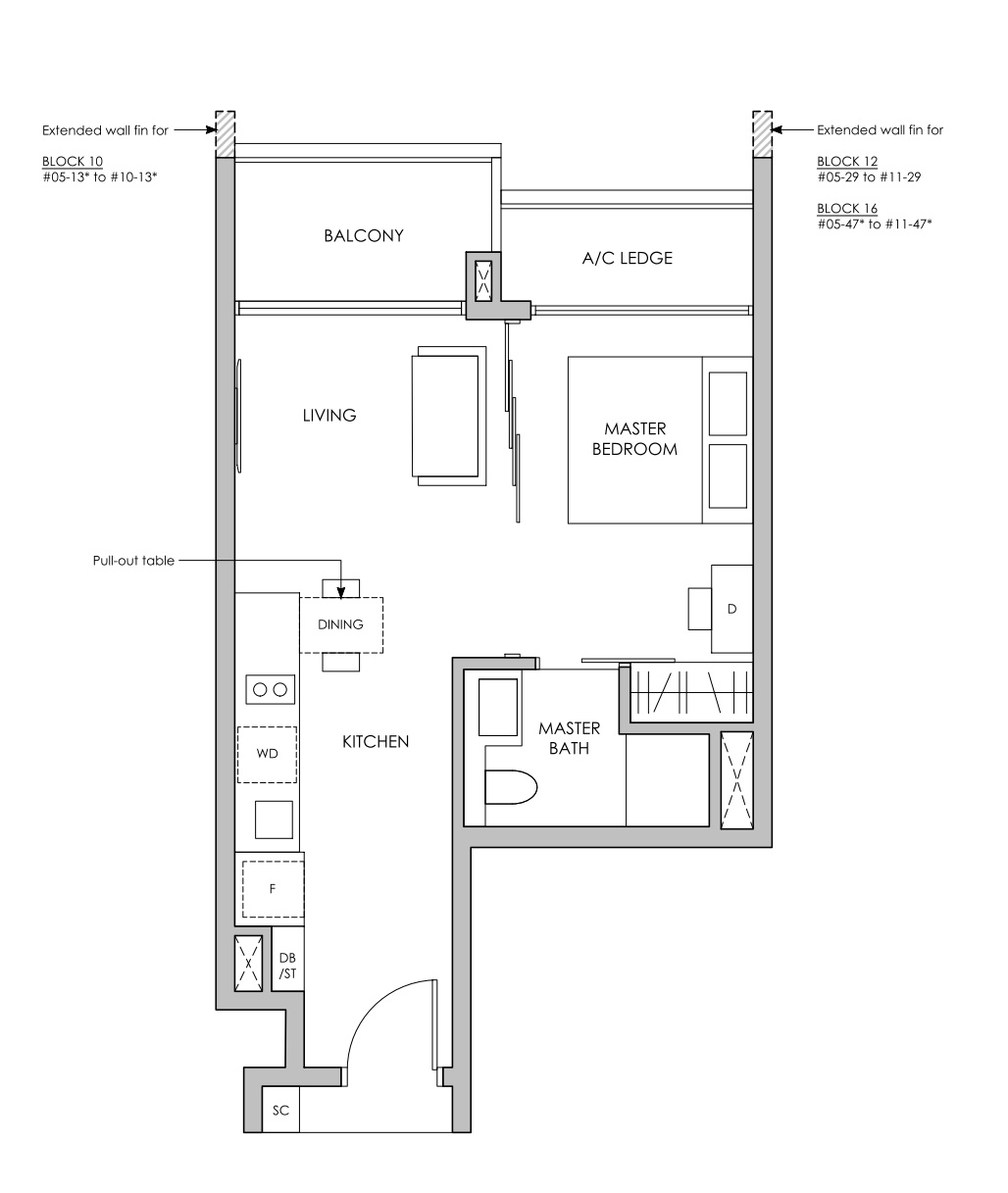 Pasir ris 8 floor plan 1 Bedroom