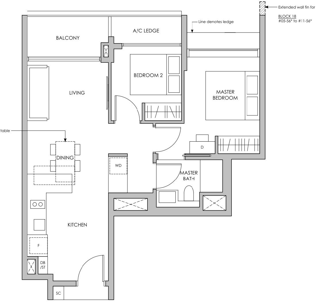 Pasir ris 8 floor plan 2 Bedroom