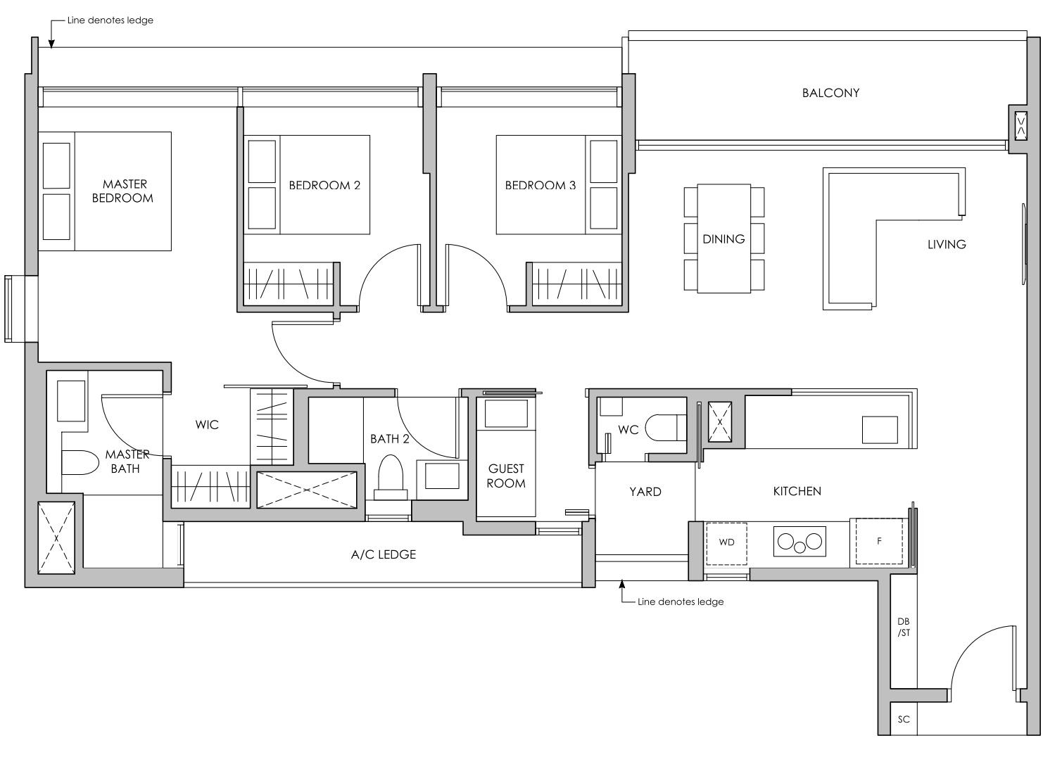Pasir ris 8 floor plan 3 Bedroom