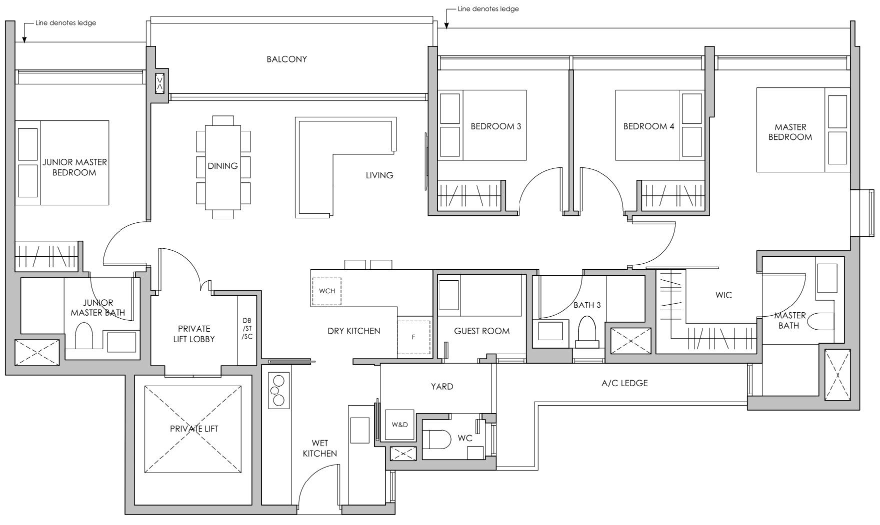 Pasir ris 8 floor plan 4 Bedroom